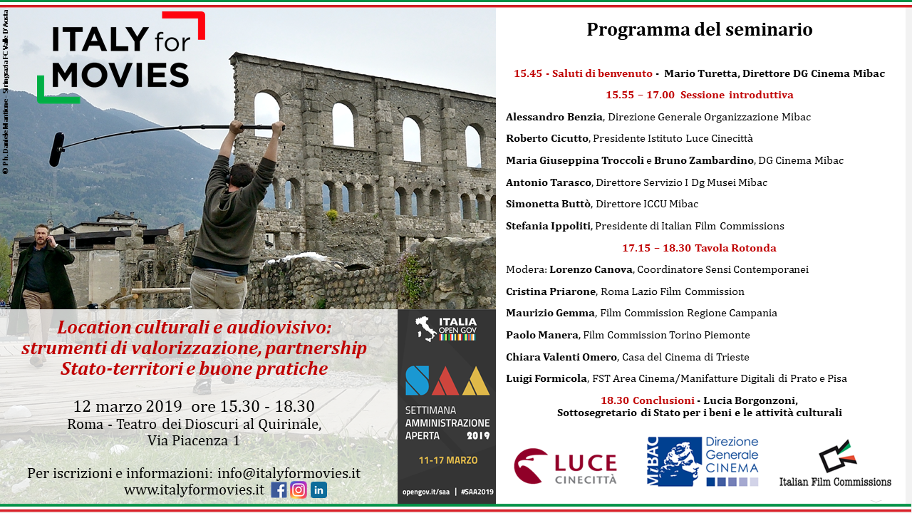 Italy for Movies, seminario su location e audiovisivo